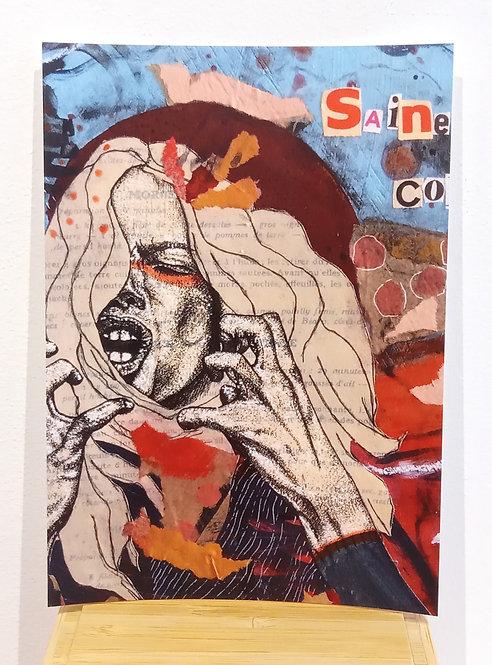 """Carte postale tirée du tableau """"Saine colère"""" acrylique, collages et feutre fin de Mam Kaan, artiste tourangelle"""