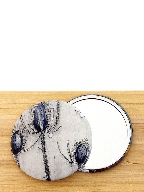 "Miroir de sac avec visuel ""Chardons"" tiré d'une gravure de Mam Kaan artiste tourangelle."