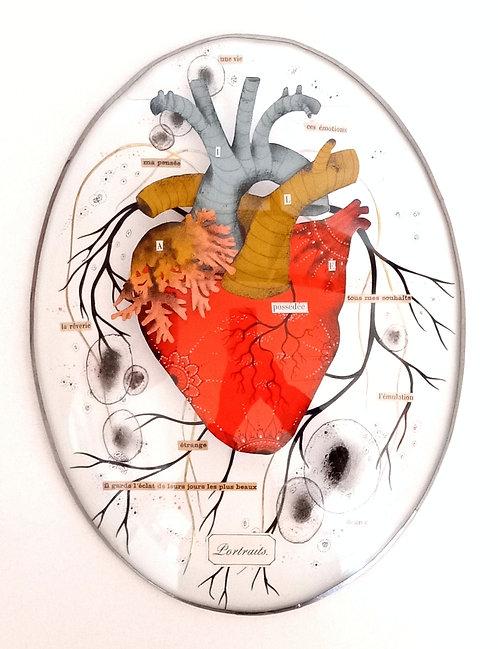 Cœur en papier découpé sous verre ancien Céline Chevrel