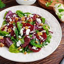 silver and gold beet spinach feta salad