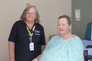 Pictured above: Heather Ready, Volunteer and Serena Bourns, Charge Nurse