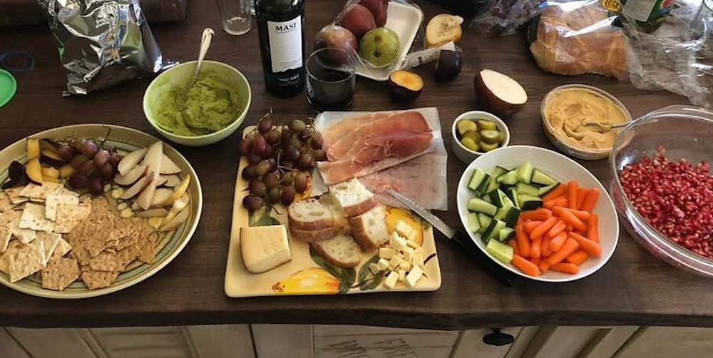 charcuterie, munchies, snacks, party food, cold cuts, serrano ham, veggies