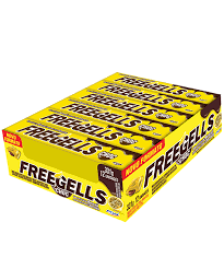 Drops Freegells Play Maracujá recheio sabor chocolate Display c/12 un Riclan