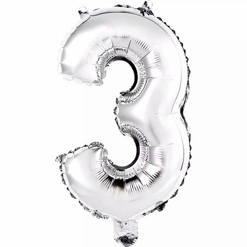 Balão Metalizado Prata  N°3 - 40cm- Funny Fashion