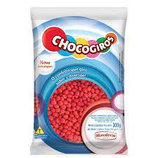 Chocogiros Mini Pastilha Confeitada Sabor Chocolate Vermelho  300g Mavalério