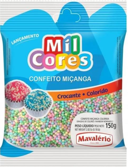 Confeito Miçanga Baby Colorida N.0 Mil Cores 150g - Mavalério
