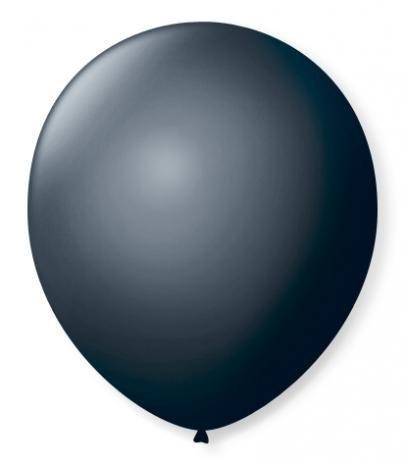 Balão N°9 Preto Ebano - Pacote com 50un- Balões São Roque