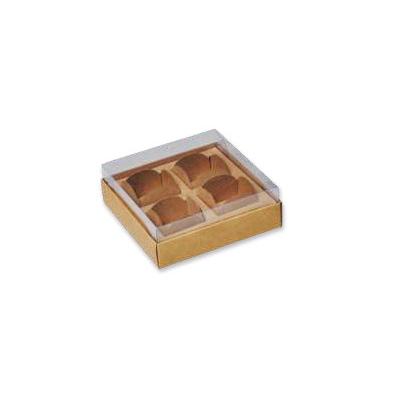 Caixa para Brigadeiro Premium 4 doces Kraft pacote com 10 unidades. Papieri