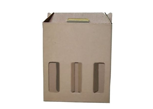 Caixa Papel Kraft   260x90x320 Ref. 653 - 3 Garrafas c/ Alça e Abertura  Celupac