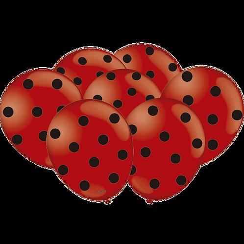 Balão  N°9 Tema: Poá Vermelho e Preto - Pacote com 25un- Balões Festcolor