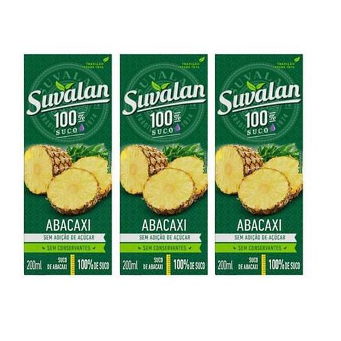 Trio de Suco Suvalan 100% suco sabor Abacaxi 200ml