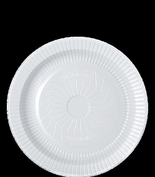 Prato plástico 18cm Raso Branco - PR18-BR - Cristalcopo - Pacote com 10 unid.