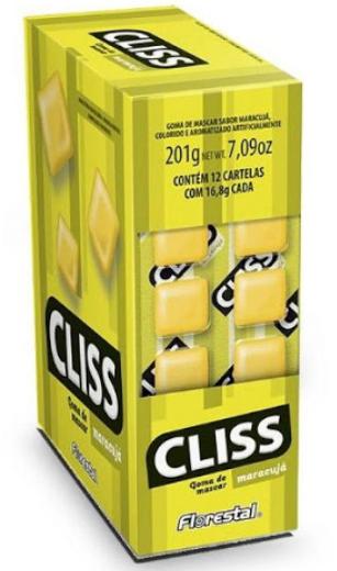 Chicle Cliss Cartela  Maracujá 201g - Florestal