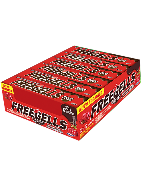 Drops Freegells Play Cereja recheio sabor chocolate Display com c/12 un Riclan
