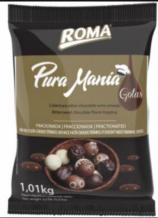 Cobertura Fracionada em gotas Semi Amarga Pura Mania 1,01Kg Roma
