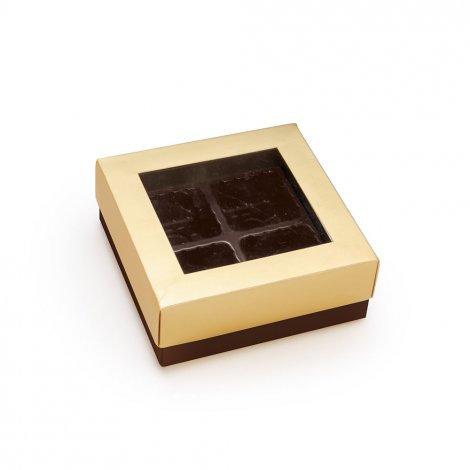 Caixa p/4 Bombons c/Acetado Ouro   9,3x9,3x3,5 c/1 un. Carber