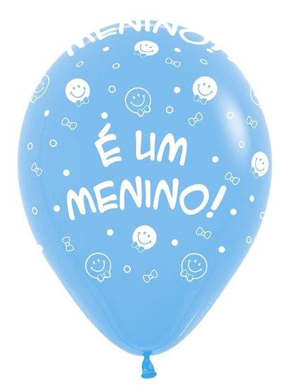 Balão  N°9 Tema: É um Menino Azul Baby - Pacote com 25un - Balões São Roque