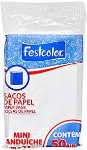 Saco de Papel Mini Sanduíche 7,5xpcm branco c/50 un Festcolor