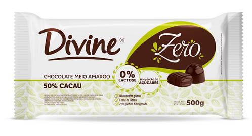 Chocolate 50% Cacau 500g Divine - Zero Açúcar, Zero Lactose e Zero Glúten