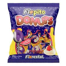Pirulito Flopito Donuts Framboesa/Baunilha 550g Florestal