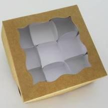 Caixa p/9 Bombons c/Acetato Marrom  13,5x13,5x3,5 1un.