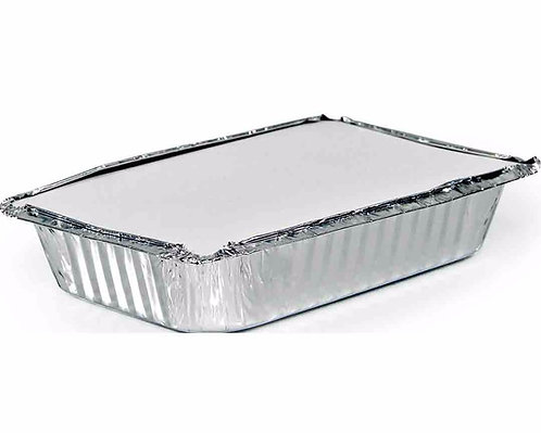 Bandeja de Alumínio Retangular 1500ml c/ tampa - Cx c/ 100un Inoven