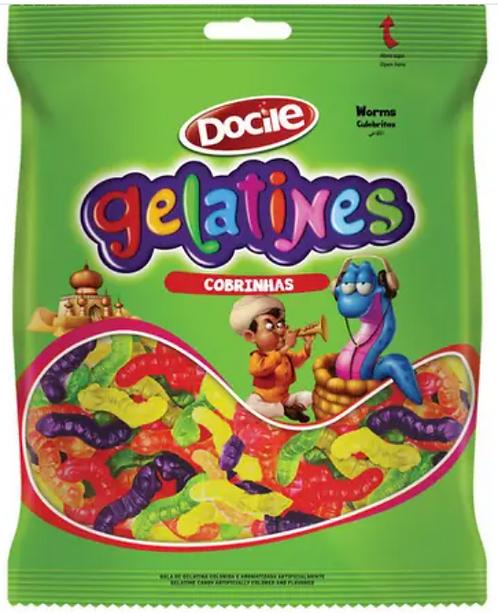 Bala Gelatines Gummies Cobrinhas 250G - Docile