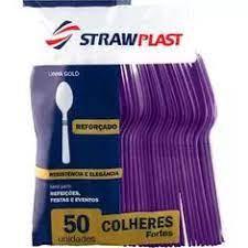 Colher Forte Roxa 50 unidades Strawplast