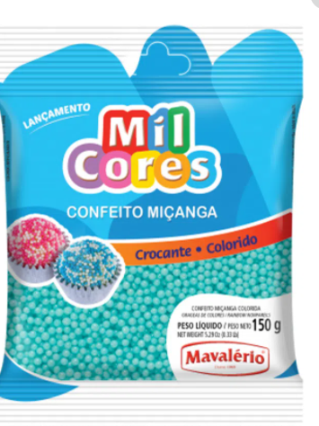 Confeito Miçanga Baby Azul N.0 Mil Cores 150g - Mavalério
