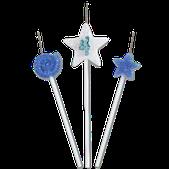 Vela Star Azul Nº 4 Festcolor - Kit com 03 un