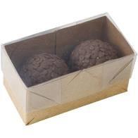 Caixa para Brigadeiro Kraft Premium para 2 doces pacote com 10 unidades. Papieri