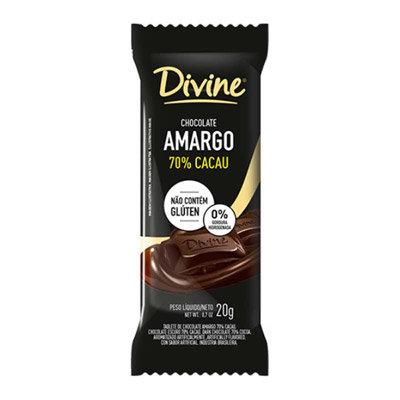 Chocolate Divine Amargo 70% Cacau Dp com 12 unidades de 20g