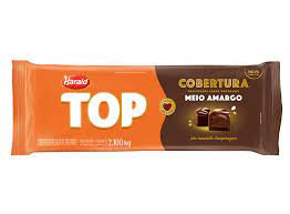 Cobertura Fracionada sabor Chocolate Meio Amargo Top Harald 2,1kg em barraHarald