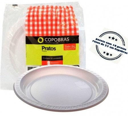 Prato plástico 23cm Raso Branco Copobrás - Pacote com 10 unidades