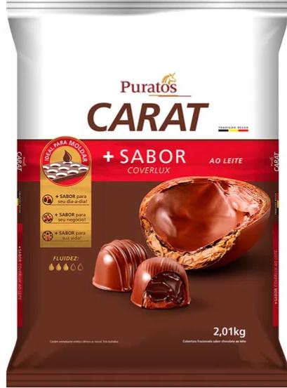Cobertura Fracionada em gotas Carat sabor Coverlux Ao Leite 2.01kg PURATOS