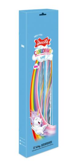 Bala Canudinho Twist Colorido Morango Unicornio 24unX26g - Docile