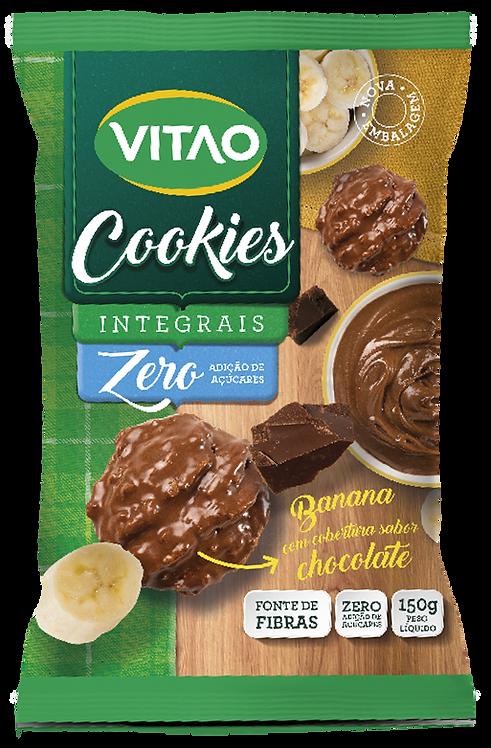 Cookies Integrais Zero Açúcar Vitao Banana Com Cobertura de Chocolate 150g