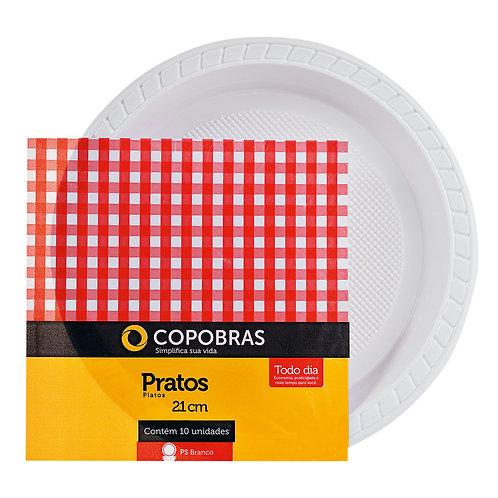 Prato Plástico 21cm raso branco Copobrás - Pacote com 10 unidades