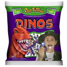 Pirulito Pop Tattoo Dinossauros 400g Boavistense