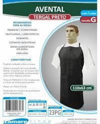 Avental Tergal Preto Grande c/Bolso - 110X63cm Lamare