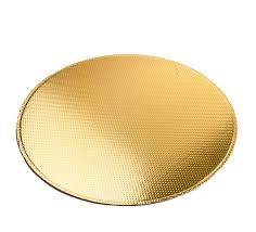 Base Laminada Redonda Ouro Brilho 21cm   Pacote c/ 10 un. Carber