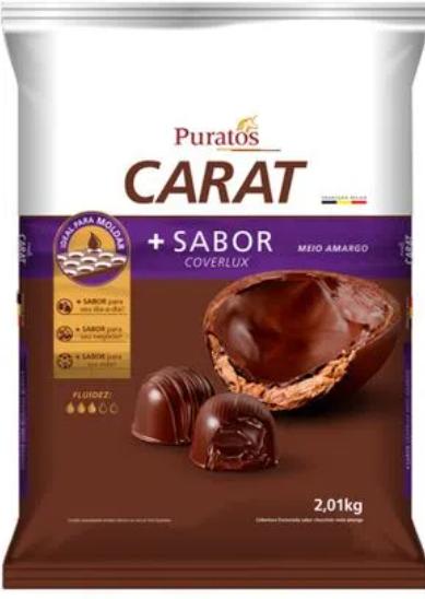 Cobertura Fracionada em gotas Carat sabor Coverlux Meio Amargo 2.01kg - Puratos