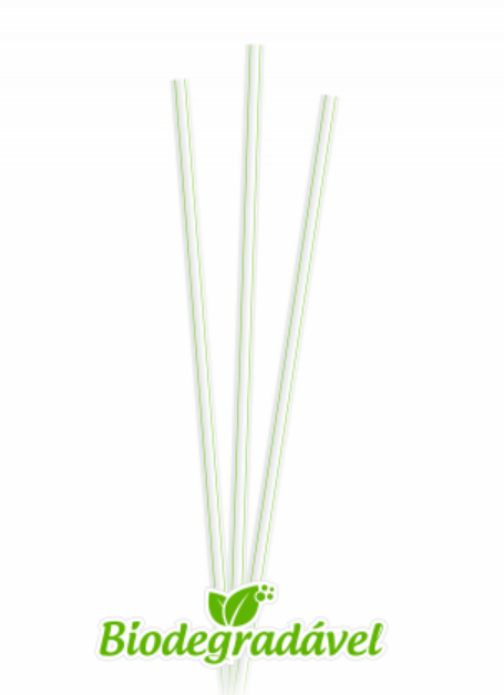 Canudo Refrigerante Bio 5X210mm - translúcido c/listras c/sachê 100un- Plazapel