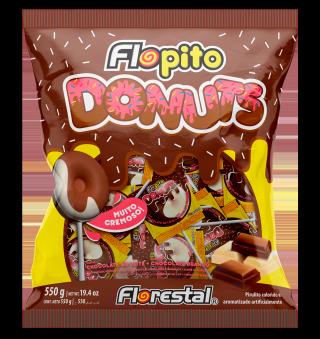 Pirulito Flopito Donuts Chocolate Ao Leite c/ Chocolate Branco 550g Florestal