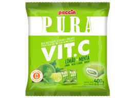 Bala Pura Vit. C Limão + Menta  400g Peccin