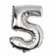 Balão Metalizado Prata N°5 - 40cm- Balões 3guris