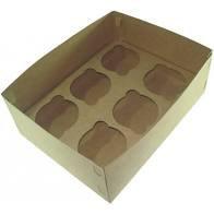 Caixa para 6 CupCake Kraft 15X7 pacote com 10 unidades. Papieri
