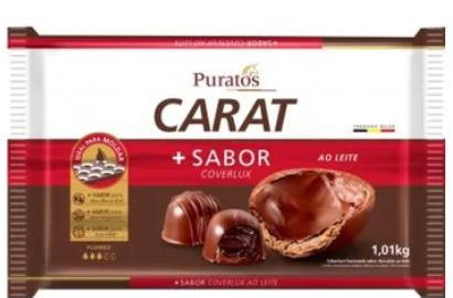 Cobertura Fracionada em barra Carat sabor Coverlux Ao Leite 1.01kg PURATOS