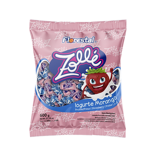 Bala Mastigável Zollé Iogurte de Morango 600g - Florestal