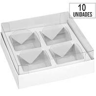Caixa para Brigadeiro para 4 doces Premium Branco pacote com 10 unidades. Papier